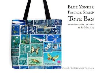Blue Yonder Tote Bag - Postage Stamp Print Shopper with Long Handles