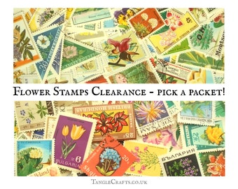 100+ Flowers on postage stamps, 15g floral Clearance Packet