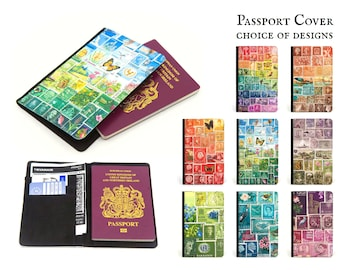 Postage Stamp Passport Cover with inner pockets - choice of designs