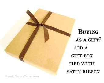 Add a Kraft Gift Box, tied with ribbon - with optional fountain pen & gift bag