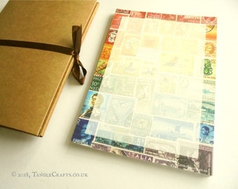 Rainbow Postage Stamp Desk Pad | Eclectic Office Stationery Set