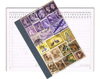 Purple Brown A6 Pocket Planner Diary • Mail Art Collage Cover