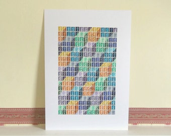 Box Illusion, Geometric Wall Art - Upcycled British Machin Postage Stamps