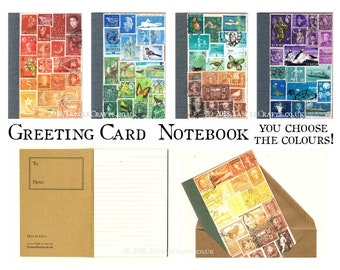 Greeting Card Notebook - Original Stamp Art Cover, Add Envelope or Gift Box