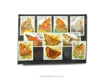 Butterfly Postage Stamp Selection | painted lady fritillary tortoiseshell butterflies, garden nature used postal stamp mix, card toppers etc