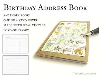 Brazil address book - botanical flower postage stamps