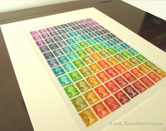Stamp Art Rainbow Chevron - Unframed with Mount, Ready to Frame