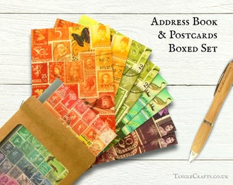 Boxed Address Book & Postcard Set - Tonal Mix, rainbow postage stamp art