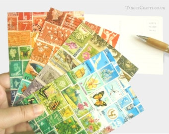 Landscape Postcard Set - Mixed Postage Stamp Card Designs   eclectic postal travel nature theme stamp art print   boho postcrossing supplies