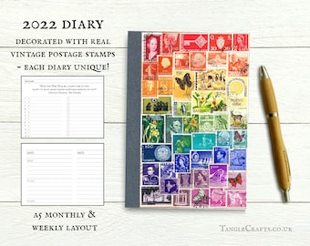 2022 Rainbow Diary, A5 - Custom colour collage of vintage postage stamps