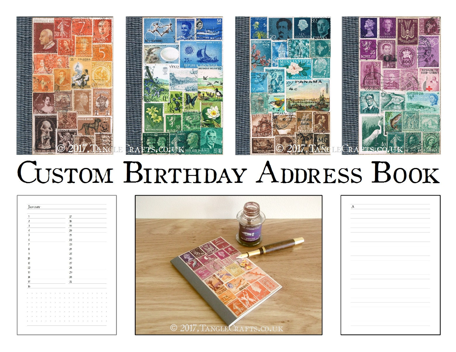 Birthday & Address Book | A6 Monthly Planner A-Z Contacts List