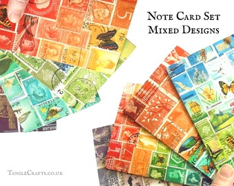 Mixed Set of 8 Stamp Art Note Cards, blank inside for any occasion