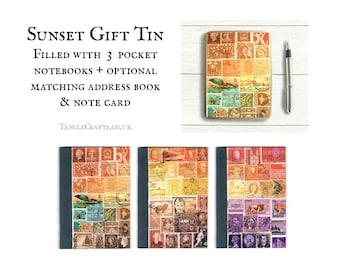 Sunset Heron Travel Gift Set - 3 pocket notebooks in portable tin