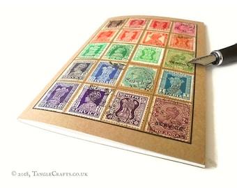 Vintage India Rainbow - Stamp Album-style Travel Notebook