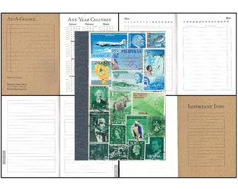 Blue Green Landscape A6 Birthday & Address Book • Mail Art Collage Cover