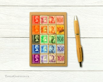 Hong Kong Rainbow Travel Notebook, upcycled postage stamp gift