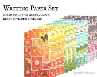 Letter writing set, mixed rainbow postage stamp designs   A5 writing paper set for penpals   postal theme ecofriendly recycled paper