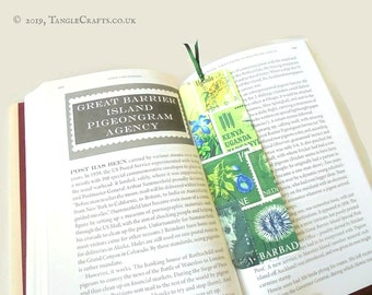 Spring Greens - Aluminium Bookmark with Postage Stamp Print