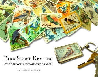 Bird Postage Stamp Keyring - choose your favourite