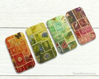 Set of 4 or 5 Postage Stamp Print Fridge Magnets