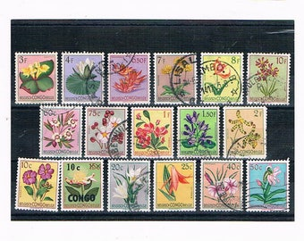 Flower Definitive Stamp Set from Belgian Congo | colourful vintage 1950s 50s floral postal stamp selection, waterlily gerbera tiger lily etc