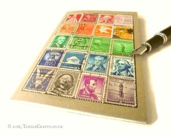 Rainbow USA Stamp Album-style Travel Notebook