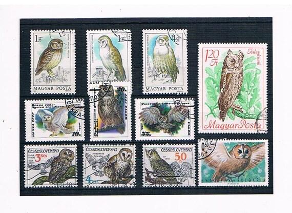 owls on postage stamps wildlife birds owl postal stamps etsy