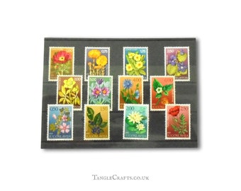 Wildflower postage stamps from Yugoslavia, inc 1969 full set