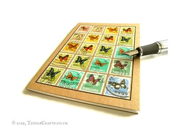 Rainbow Butterfly Notebook • 1973 Postage Stamps, Tanzania Travel Journal