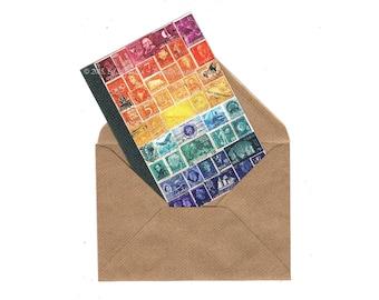 Sunset Sea Notecard • World Stamp Art Bon Voyage Card