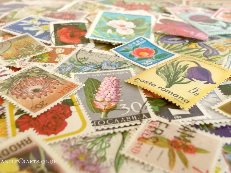 Flowers postage stamp packet  floral postal stamps mixture  image 0