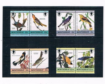 Audubon Birds on Montserrat Postage Stamps - vintage bird art illustrations | thematic mint postal stamp selection for collection or craft