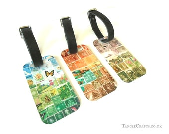 Aluminium Luggage Tag, postage stamp print landscapes, choice of 3 designs   eclectic world travel accessory, quirky collage art travel gift