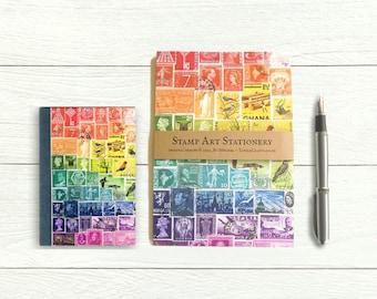 Rainbow address book & writing paper set, matching postage stamp print