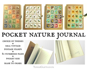 Nature Notes A6 Journal, made with real vintage stamps