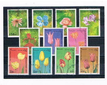 Tulips on Postage Stamps, Colourful Flower Stamps | floral postal stamp card toppers for craft | collage upcycle collect decoupage