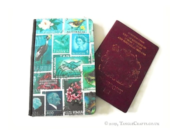 Ocean Passport Holder, Sea Blue Green Teal Postage Stamp Passport Cover   quirky sealife travel gift, cruise vacation   matching storage tin