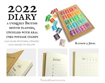 British Rainbow Diary 2022, made with Real Machin Stamps