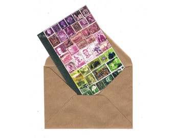 Pink Dusk Collage Notecard • Art Print of Postage Stamp Collage