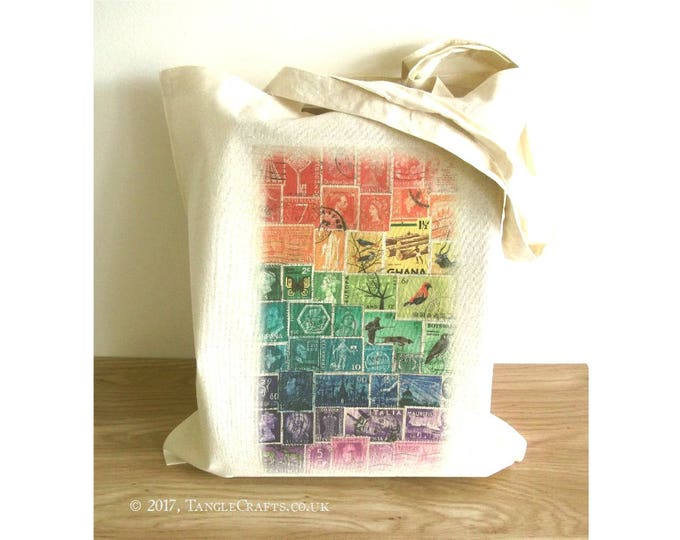Featured listing image: Rainbow Tote Bag - Postage Stamp Print Eco Shopper with Long Handles