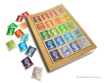 Muted Rainbow Pocket Size Journal, made with Real British Stamps