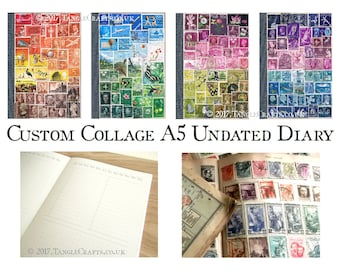 Undated Diary - Custom Colour A5 Journal - Postage Stamp Art Cover