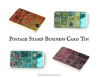 Postage stamp print business card tin with slide top lid