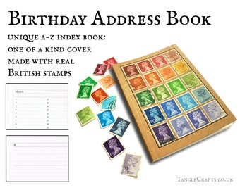 Rainbow address book, upcycled British stamp cover • retro office gift for letter writer • bright quirky stationery, A-Z book & notebook set