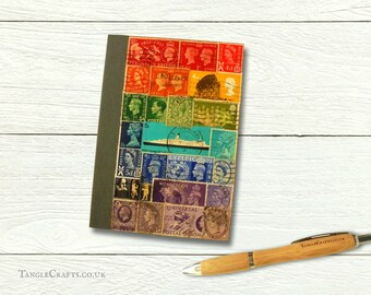 Rainbow travel notebook, journal or diary • real British postage stamps