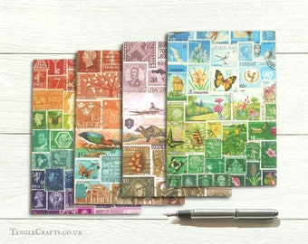 Landscape letter writing set, eco friendly recycled paper, postage stamp art print
