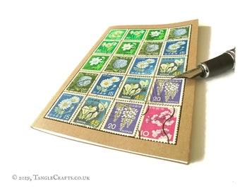 Japan Flower Stamps Notebook   Upcycled Vintage Stamp Journal