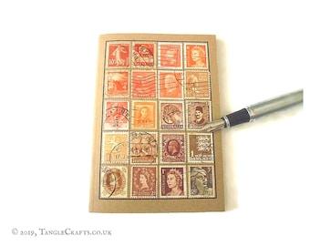 Orange brown travel notebook - vintage stamp album cover