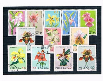 Orchids on Vintage Postage Stamps | vintage flower illustrations wedding card craft | postal stamps for collection collage upcycle decoupage