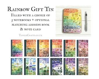 Rainbow Storage Tin Gift Set inc 3 pocket notebooks